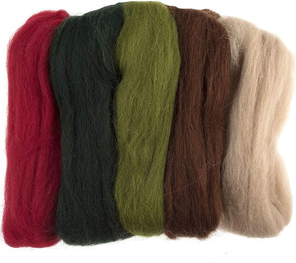 Natural Wool Roving Needle Felting Colour Pack, Assorted Winter/Christmas
