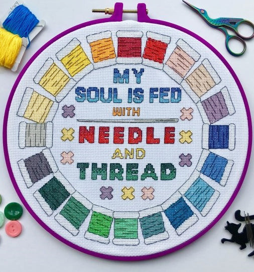 My Soul is Fed with Needle and Thread Cross Stitch Kit, Emma Louise Art Stitch