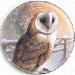 Needle Minder, Magnetic Needle Keeper -Barn Owl, David Finney 37mm