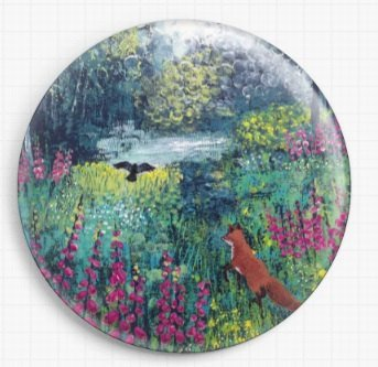 Needle Minder, Magnetic Needle Keeper, Through the Foxgloves by Jo Grundy 58mm