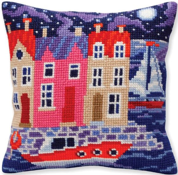 Night Harbour CROSS Stitch Tapestry Kit, Collection D'Art CD5385