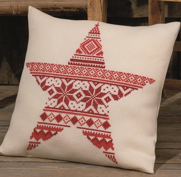 Nordic Star Cross Stitch Kit Cushion Permin 83-7642