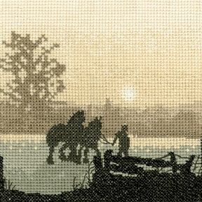 Off to Plough Cross Stitch Kit, Silhouettes, Heritage Crafts