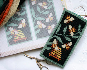 Tapestry Kit Black Bees Glasses Case Needlepoint, One Off Needlework