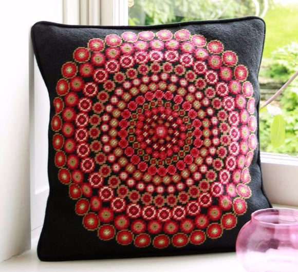 Millefiori Cushion Tapestry Needlepoint Kit, Black, One Off Needlework