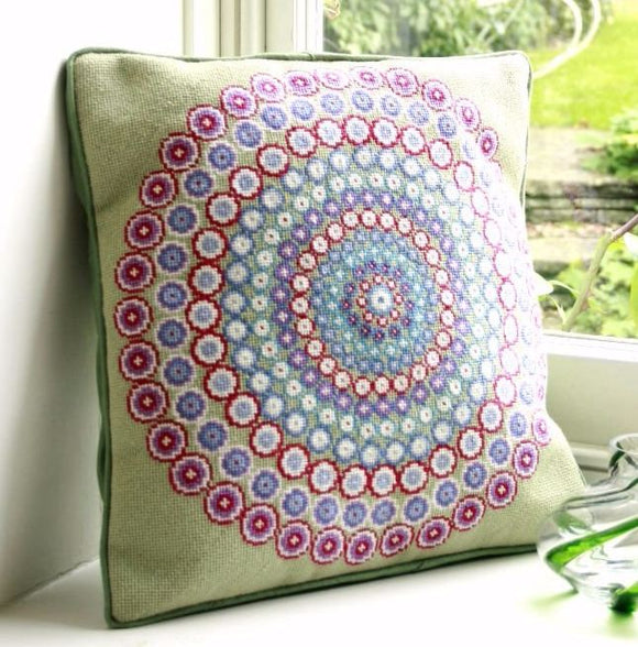 Millefiori Cushion Tapestry Needlepoint Kit, Green, One Off Needlework
