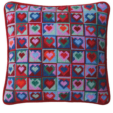 Mosaic Hearts Tapestry Needlepoint Kit, One Off Needlework