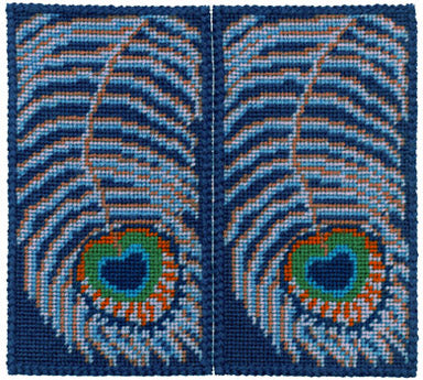 Tapestry Kit Peacock Feathers Glasses Case Needlepoint, One Off Needlework
