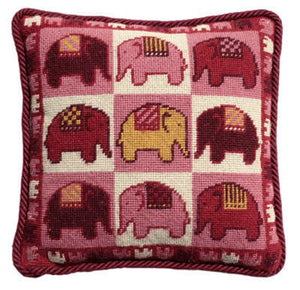 Tapestry Kit Needlepoint Kit, Pink Elephants Tapestry (OO)