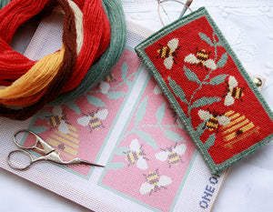Tapestry Kit Red Bees Glasses Case Needlepoint, One Off Needlework