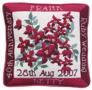 Ruby Wedding Anniversary Sampler Tapestry Kit, Needlepoint Kit (OO)