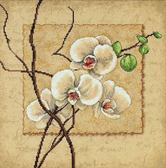 Oriental Orchids Cross Stitch Kit, Dimensions D35176
