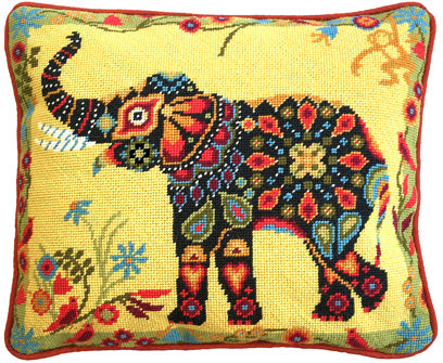 Painted Elephant Mandala Tapestry Kit Needlepoint, One Off Needlework