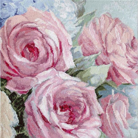 Pale Pink Roses Cross Stitch Kit (Luca-s) LetiStitch LETI928