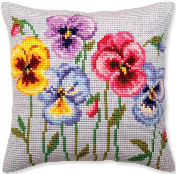Pansies CROSS Stitch Tapestry Kit, Collection D'Art CD5383