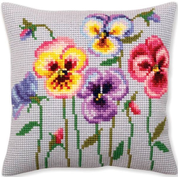 Pansies CROSS Stitch Tapestry Kit, Collection D'Art CD5384
