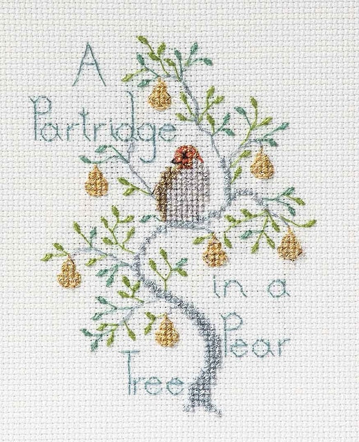 Partridge in a Pear Tree Cross Stitch Christmas Card Kit, Derwentwater Designs