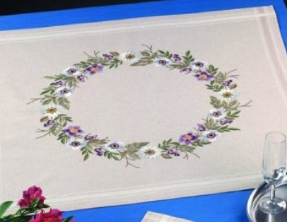 Passion Flowers Tablecloth Embroidery Kit, Permin 27-5721
