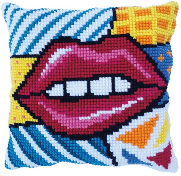 Patchwork Lips CROSS Stitch Tapestry Kit, Needleart World LH9-005