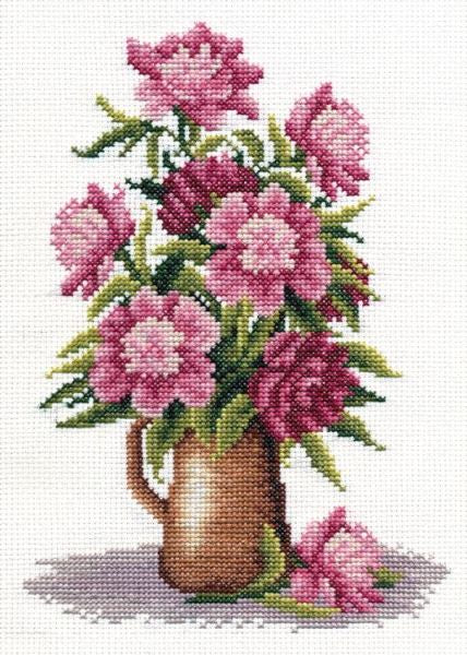 Peony Bunch Cross Stitch Kit, Panna C-0152