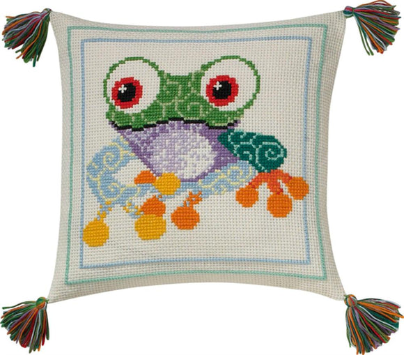 Cross Stitch Kit Frog, Starter Counted Cross Stitch Kit Permin