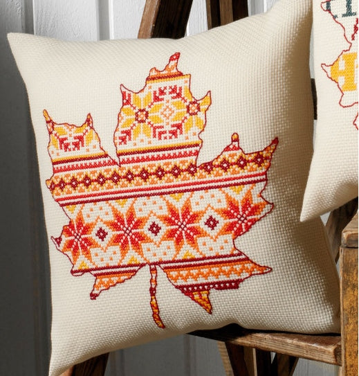 Leaf Pattern Cross Stitch Kit Cushion Permin 83-8795