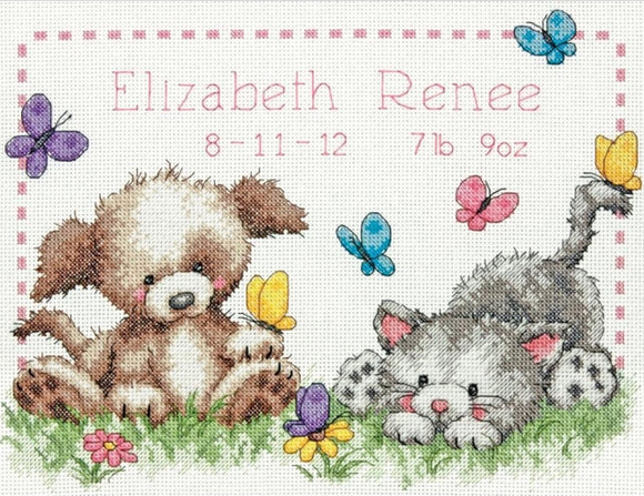 Pet Friends Birth Sampler Cross Stitch Kit, Dimensions D70-73883