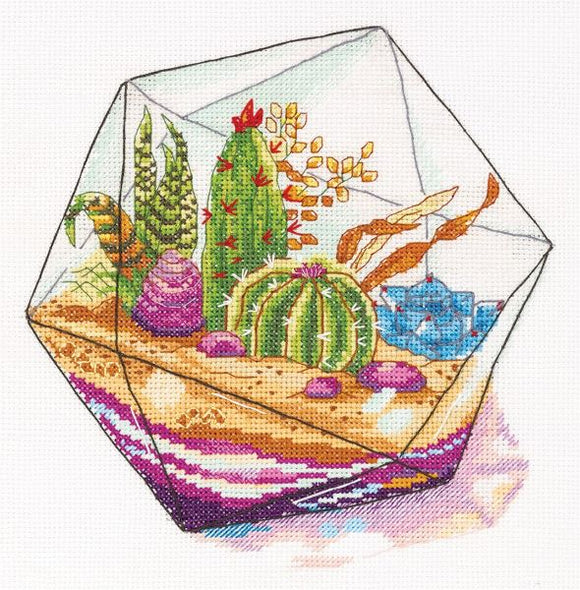 Cactus Plant Terrarium Cross Stitch Kit, Panna C-7080