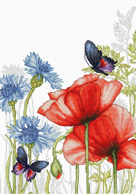 Poppies and Butterflies Cross Stitch Kit Luca-s BU4018