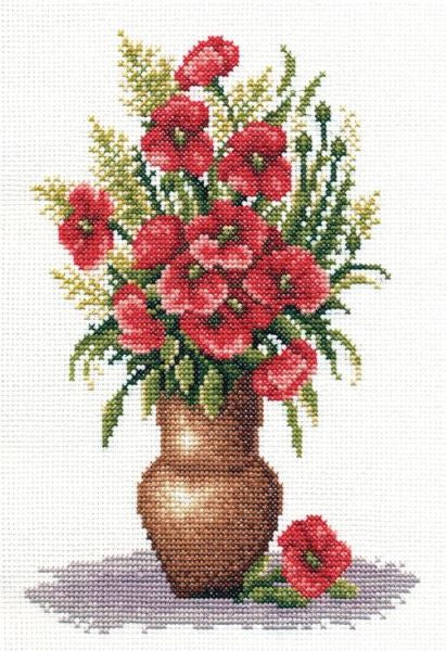 Poppy Bunch Cross Stitch Kit, Panna C-0151