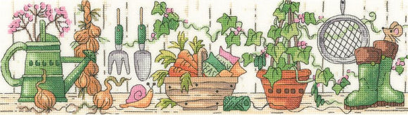 Potting Shed Counted Cross Stitch Kit, Heritage Crafts -Karen Carter