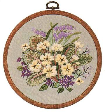 Embroidery Kit Primroses, Design Perfection E135