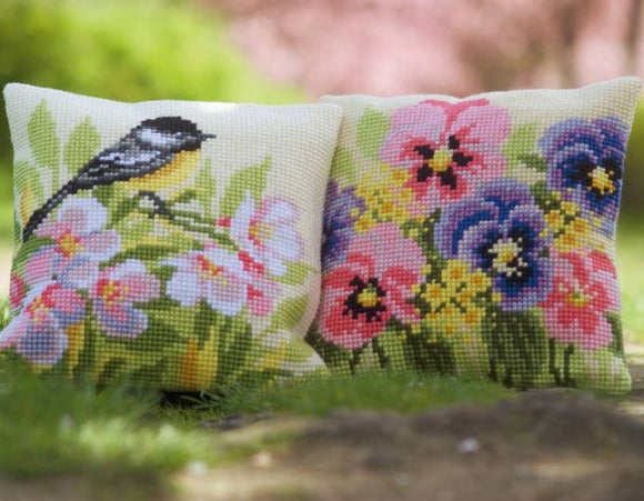 Bird and Blossom CROSS Stitch Tapestry Kits, Vervaco -PAIR