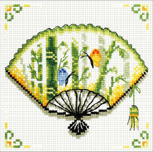Printed Cross Stitch Bamboo Fan, NO-COUNT Cross Stitch Kit N140-028