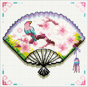 Printed Cross Stitch Blossom Fan, NO-COUNT Cross Stitch Kit N140-029