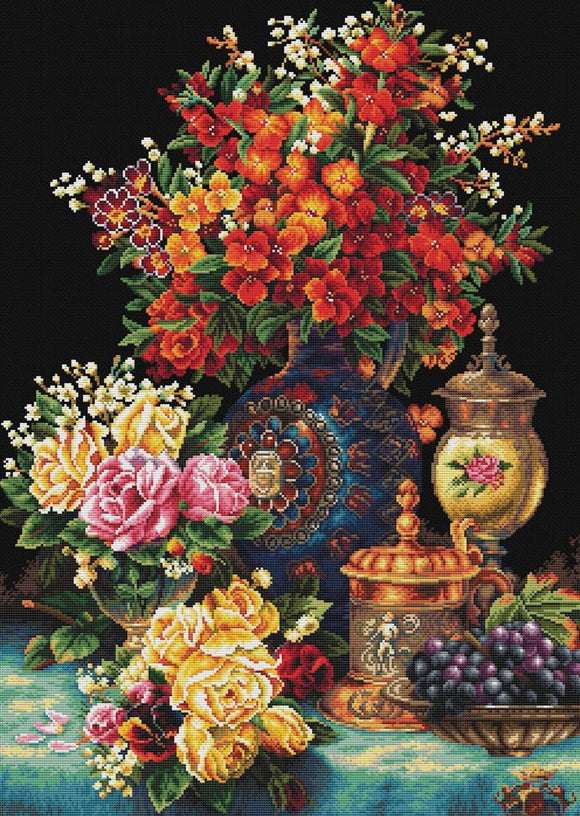 Printed Cross Stitch Classic Flowers, NO-COUNT Cross Stitch N850-034