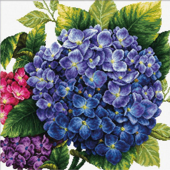 Printed Cross Stitch Hydrangea, NO-COUNT Cross Stitch Kit N640-088