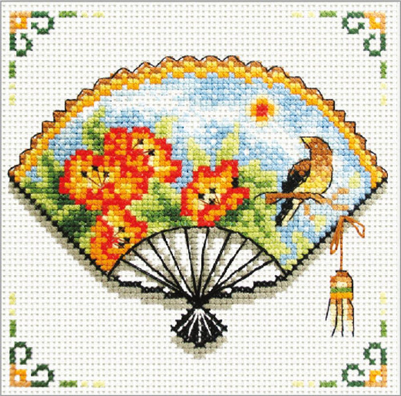 Printed Cross Stitch Nasturtium Fan, NO-COUNT Cross Stitch Kit N140-027