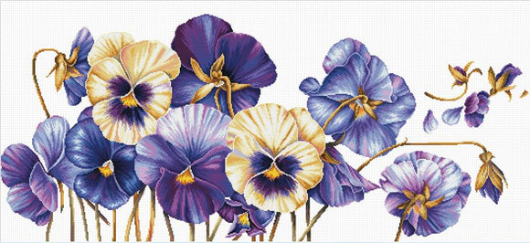 Cross Stitch Kit Pansies, NO-COUNT Printed Cross Stitch Kit N640-073