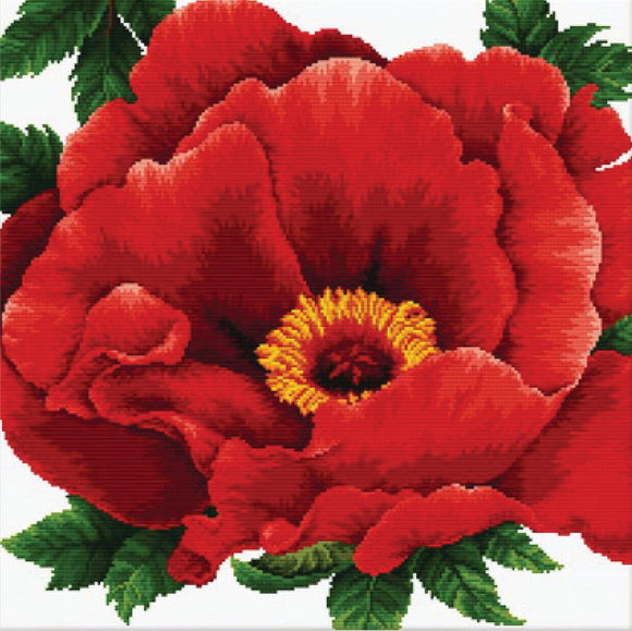 Cross Stitch Kit Peony, NO-COUNT Printed Cross Stitch Kit N640-083