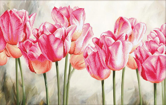 Cross Stitch Kit Pink Tulips, NO-COUNT Printed Cross Stitch Kit N650-021