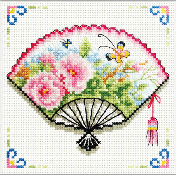 Printed Cross Stitch Rose Butterfly Fan, NO-COUNT Cross Stitch Kit N140-026