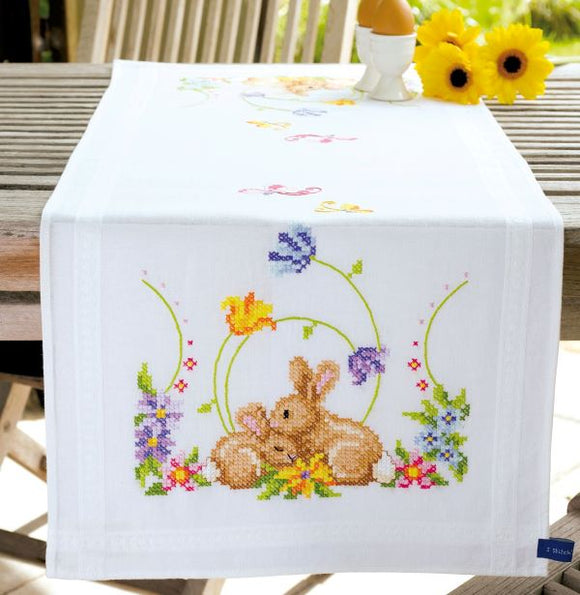Rabbits Printed Cross Stitch Kit, Embroidery Runner, Vervaco PN-0146336
