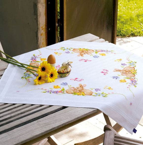 Rabbits Printed Cross Stitch Kit, Embroidery Tablecloth, Vervaco PN-0021708