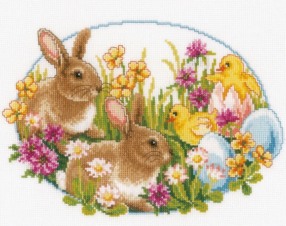 Rabbits and Chicks Cross Stitch Kit, Vervaco pn-0149534