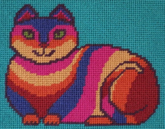 Beginners Tapestry Kit Needlepoint Kit, Rainbow Cat, Sew Inspiring