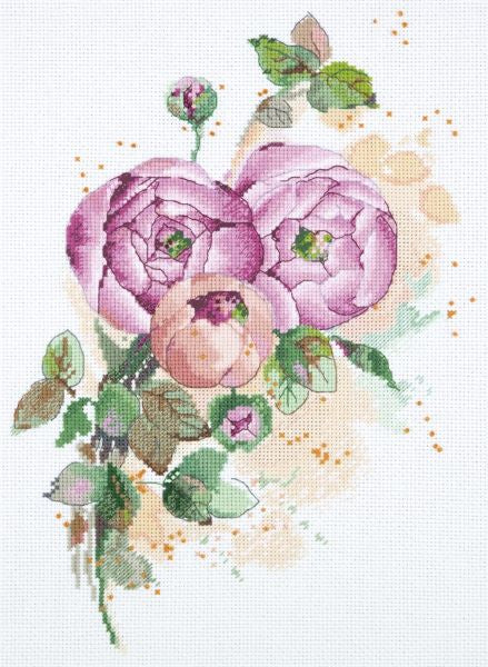 Ranunculus Cross Stitch Kit, Panna C-1852