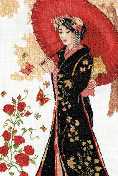 Red Parasol Geisha Cross Stitch Kit, Design Works 3378