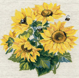 Cross Stitch Kit Sunflowers, Counted Cross Stitch Riolis R776