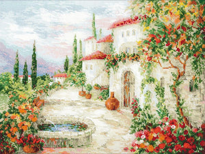 Cross Stitch Kit At the Fountain, Counted Cross Stitch Kit Riolis R1472